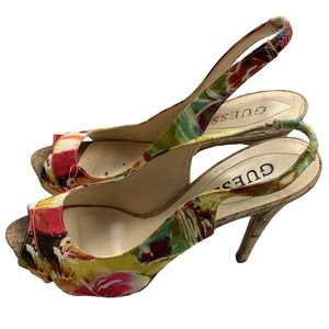 Guess Floral Peep Toe Sling Back Stiletto Heels